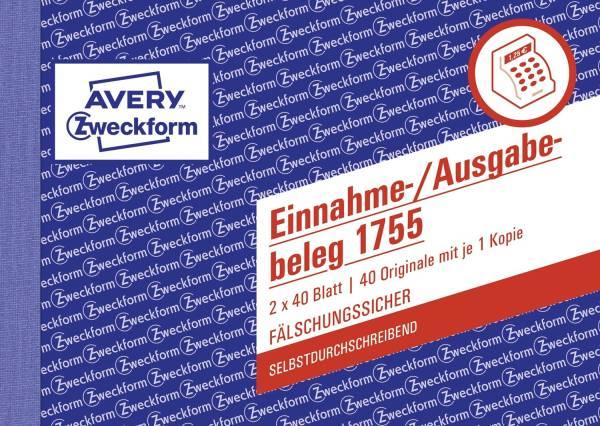 AVERY ZWECKFORM Einnahme/Ausgabebeleg A6 SD 1755