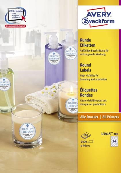 L3415 100 Etiketten in Sonderformaten, Ø 40 mm, 100 Blatt 2 400 Etiketten, weiß