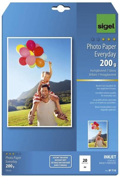 Inkjet Fotopapier Everyday A4, hochglänzend, 200 g qm, 20 Blatt