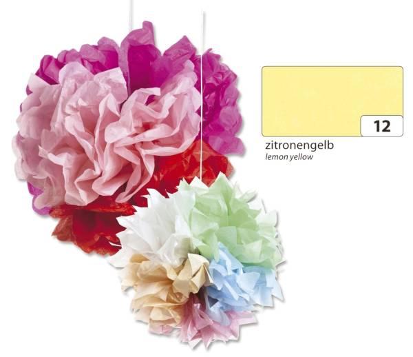 Blumenseide 50 x 70 cm, 5 Bogen, zitronengelb