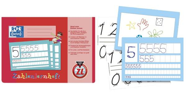 Zahlenlernheft, A4 quer, ZL, 16, robuster, abwischbarer Deckel