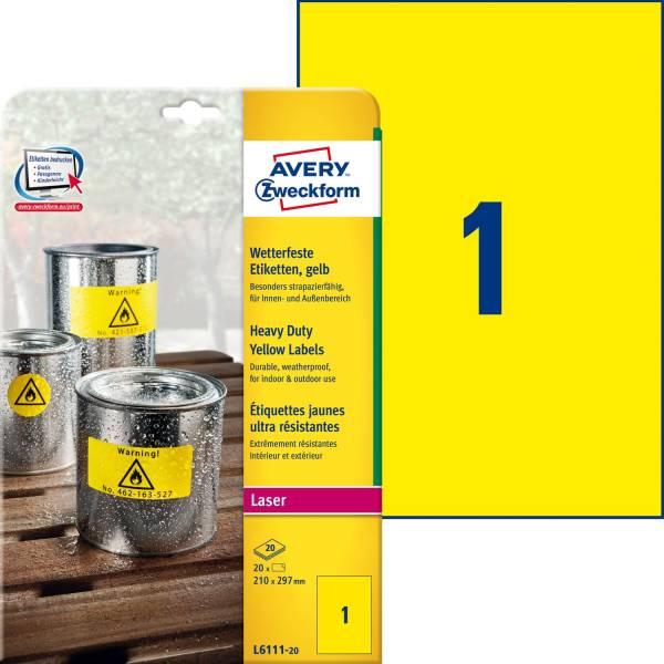 AVERY ZWECKFORM Universaletikett 210x297 gelb L6111-20