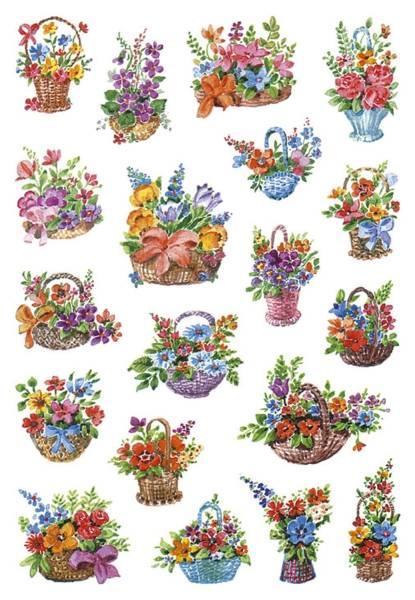 3584 Sticker DECOR Blumen in Körbchen