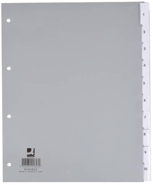 Q-CONNECT Register Plastik A4 blanko 10tlg. überbr KF01853 Beschriftungssch. ausw