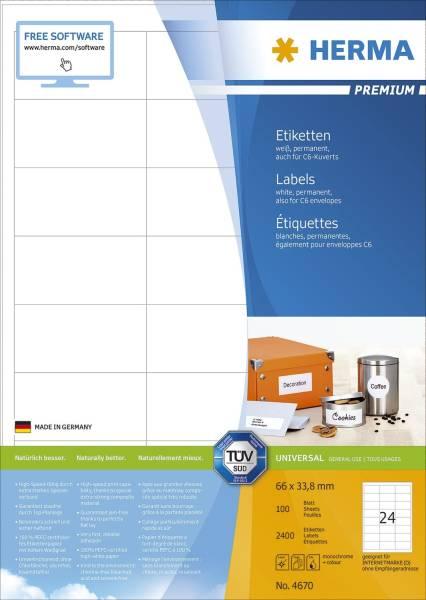 HERMA Universaletiketten 66x33,8mm weiß 4670 2400 Stück permanent haftend