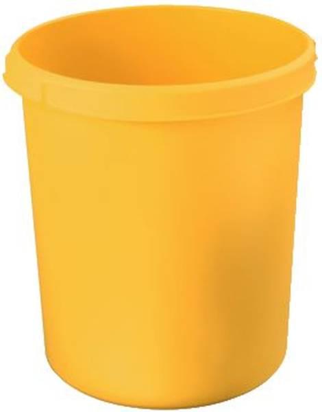 Papierkorb 30 Liter, rund, 2 Griffmulden, extra stabil, gelb