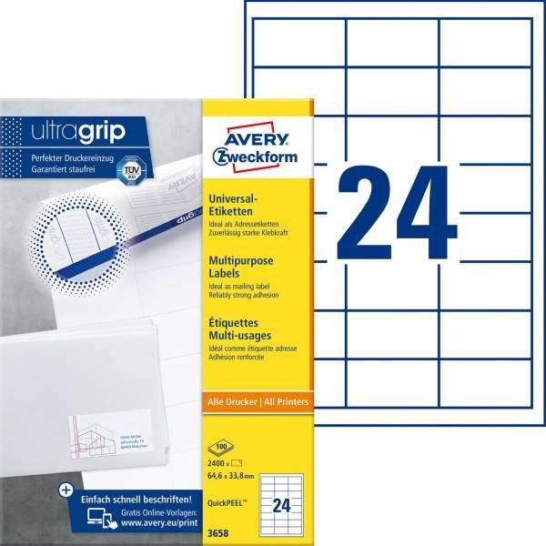 3658 Universal Etiketten 64,6 x 33,8 mm, weiß, 2 400 Etiketten 100 Blatt, permanent