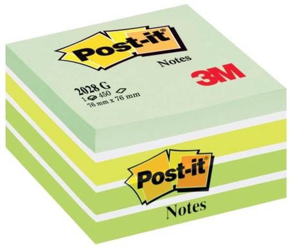 POST-IT Haftnotizblock Würfel pastellgrün 2028G 76x76mm 450Bl