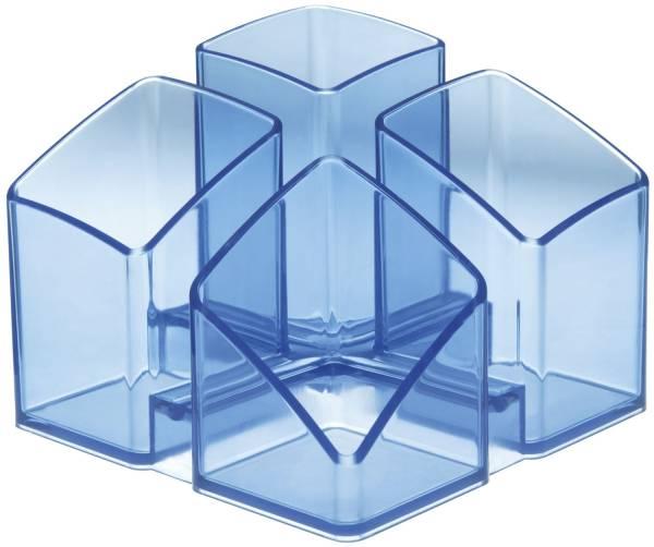 Schreibtisch Köcher SCALA 4 Fächern, transparent blau