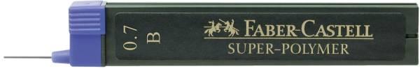 Feinmine SUPER POLYMER, 0,7 mm, B, tiefschwarz, 12 Minen