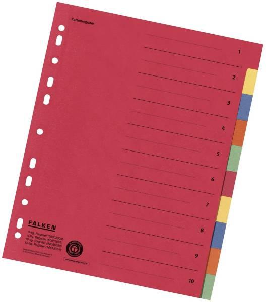 Zahlenregister 1 10, Karton farbig, A4, 5 Farben, gelocht mit Orgadruck
