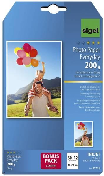Inkjet Fotopapier Everyday 10x 15 cm, hochglänzend, 200 g qm, 60 + 12 Blatt