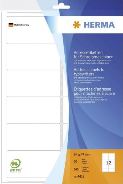 HERMA Adressetiketten 94x47mm weiß 4432 240 Stück permanent haftend