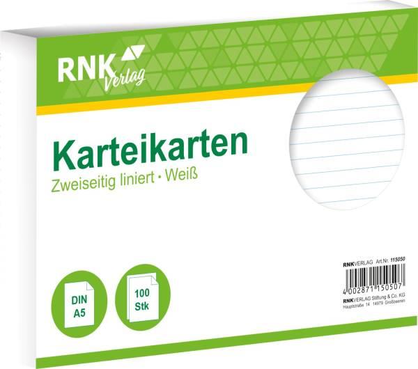 RNK Karteikarte A5 100 ST weiß 115050 liniert