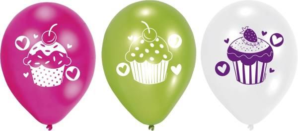 Luftballon Cupcake 6 Stück, sortiert