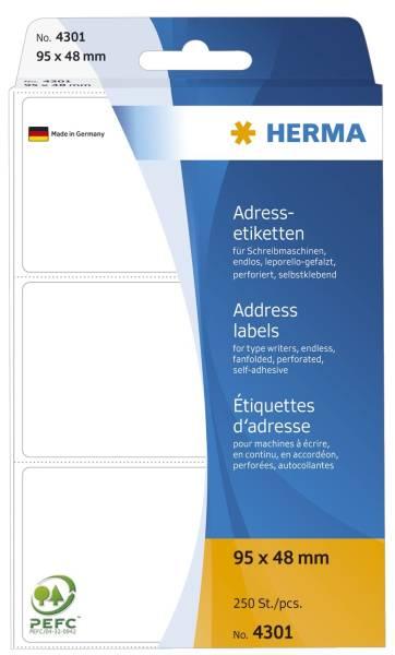 HERMA Adressetiketten Endlos 95x48mm weiß 4301 250 Stück leporello-gefalzt