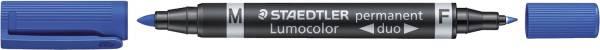 Permanentmarker Lumocolor duo nachfüllbar, 0,6 mm und 1,5 mm, blau®