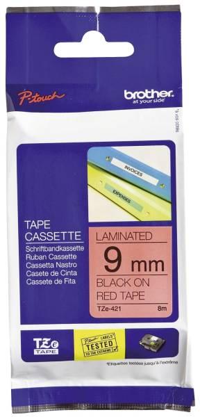 TZe 421 Schriftbandkassette laminiert, 9 mm x 8 m, schwarz auf rot