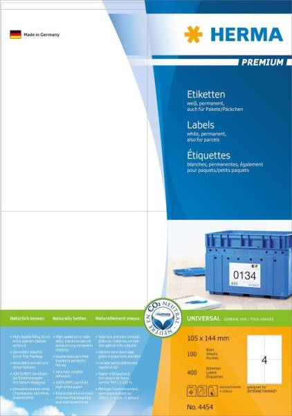 4454 Etiketten Premium A4, weiß 105x144 mm Papier matt 400 St