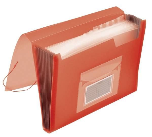Fächermappe 13 Taschen, 250 Blatt, PP, transluzent rot