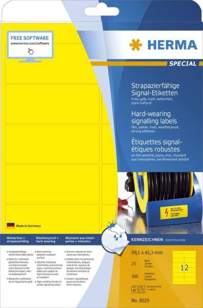 8029 Signal Etiketten strapazierfähig A4 99,1x42,3 mm gelb stark haftend Folie matt wetterfest 300 S
