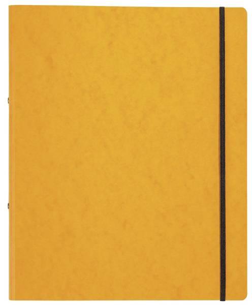 Ringbuch Pressspan A4, 2 Ring, Ring Ø 16mm, Gummizug, gelb