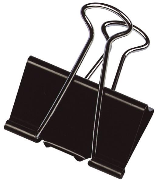 Foldback Klammern 41 mm, Klemmvolumen 19 mm, schwarz, 10 Stück