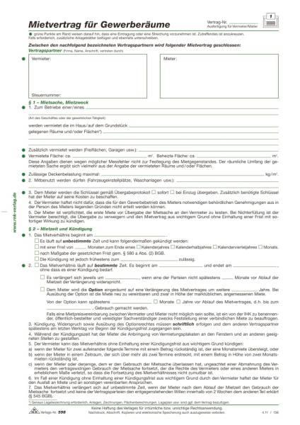 RNK Mietvertrag Gewerberaum 598 A4 5BL