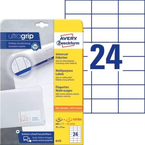 6173 Universal Etiketten 70 x 37 mm, weiß, 720 Etiketten 30 Blatt, permanent