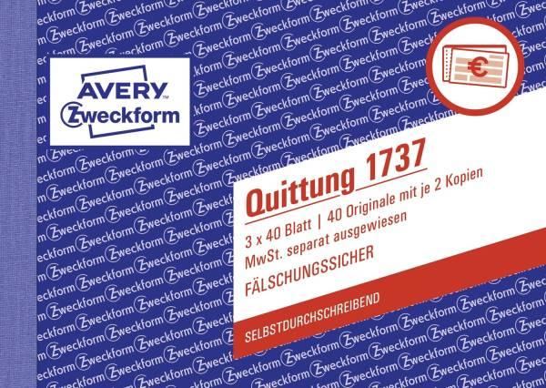 1737 Quittung MwSt separat ausgewiesen A6 quer, SD, fälschungssicher, 3 x 40 Blatt, weiß, gelb, rosa