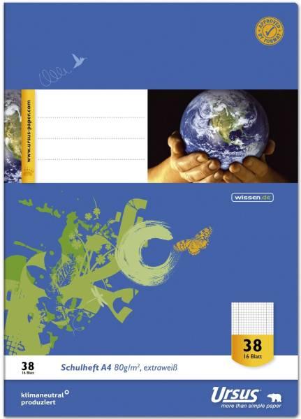 Heft LIN38 A4 16 Blatt 80g qm 5mm kariert perforiert gelocht