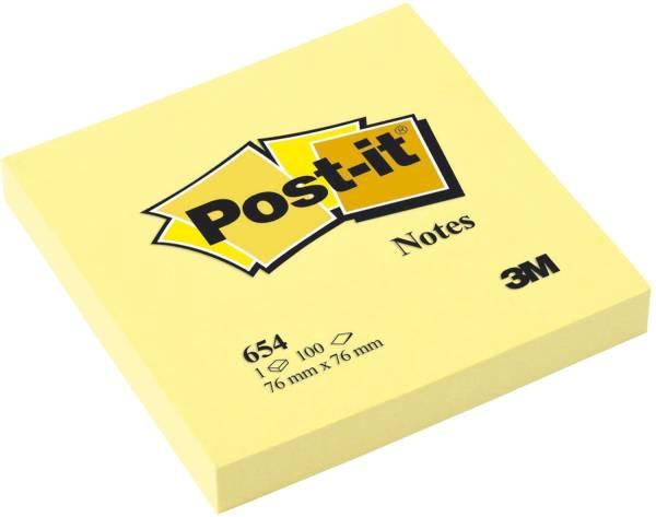 POST-IT Haftnotizblock 76x76mm gelb 654