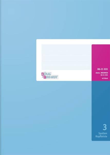 Spaltenbuch Kopfleisten Ausführung A4, 3 Spalten, 40 Blatt, Schema über 1 Seite