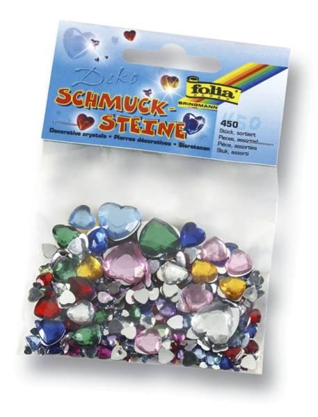 Schmucksteine Herzen ca 450 Teile, Größen Farben sortiert