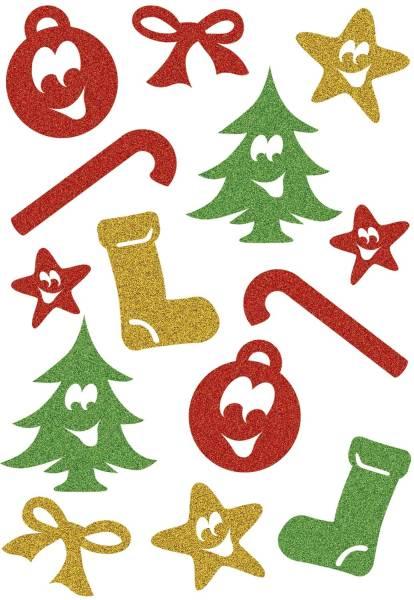 HERMA Schmucketikett Symbole glittery 14 Stück 3728 Magic Weihnachten