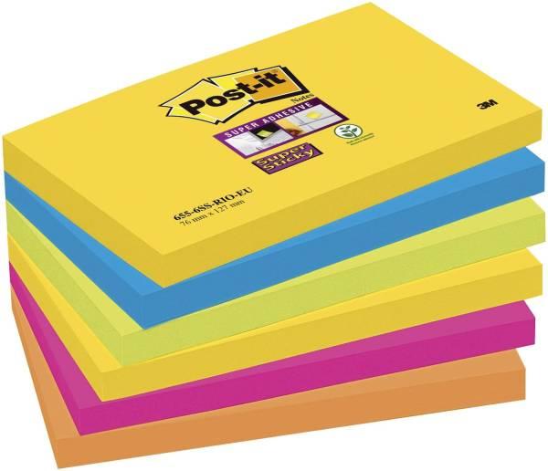 POST-IT Haftnotizblock 6x90BL 127x76mm 6556SR SuperSticky