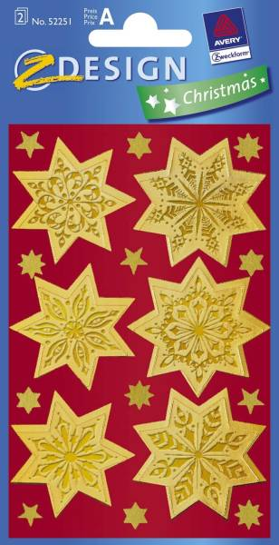 Z Design 52808, Weihnachtssticker, Sterne, 2 Bogen 36 Sticker®