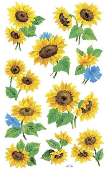 Z Design 54103, Deko Sticker, Sonnenblumen, 3 Bogen 30 Sticker