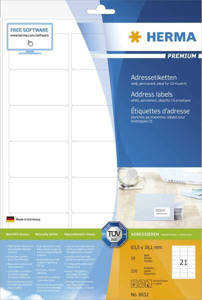 8632 Premium Etikett weiß, 63,5x38,1 mm, permanent, 210 Stück