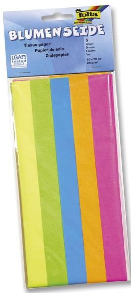 FOLIA Blumenseide 50x70cm Neon sort. 91099 20g 5Bg