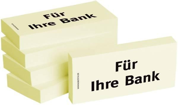 Bedruckte Haftnotizen Text: Für Ihre Bank