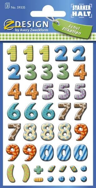 59335 Home Zahlen Papier bunt 3 Bögen 114 Etiketten