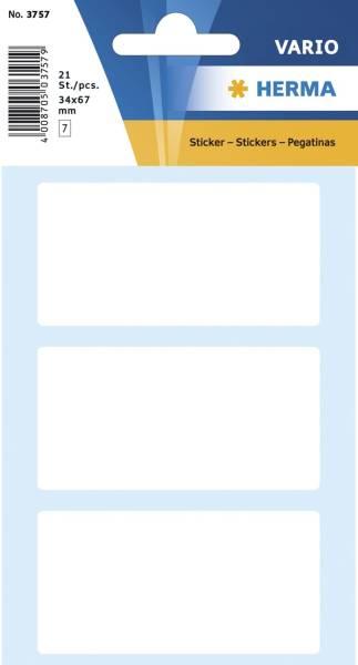 HERMA Etiketten 34x67mm 21 Stück weiß 3757 permanent haftend