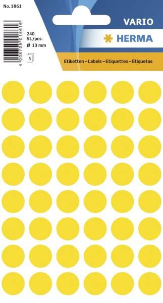 1861 Vielzwecketiketten gelb, Ø 13 mm, matt, 240 Stück