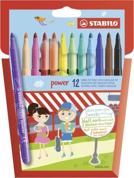 power Filzstift Kartonetui mit 12 Stiften