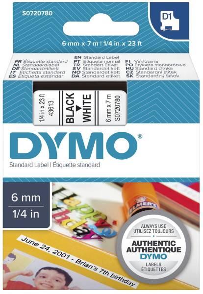 DYMO Schriftband D1 6mmx7m weiß/schwarz S0720780 436138