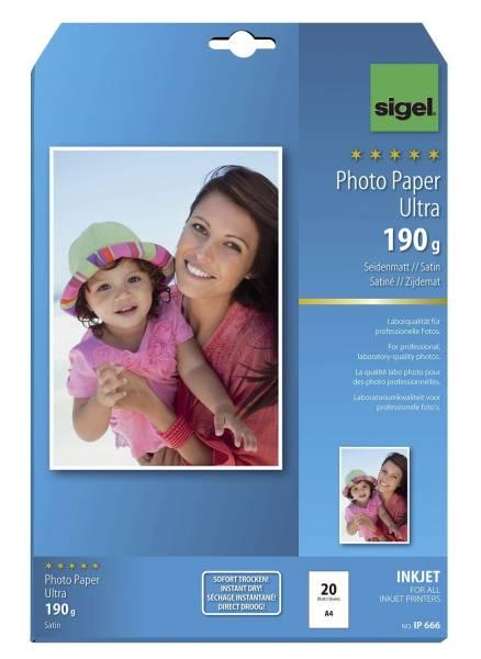 Inkjet Fotopapier Ultra A4, seidenmatt, 190 g qm, 20 Blatt