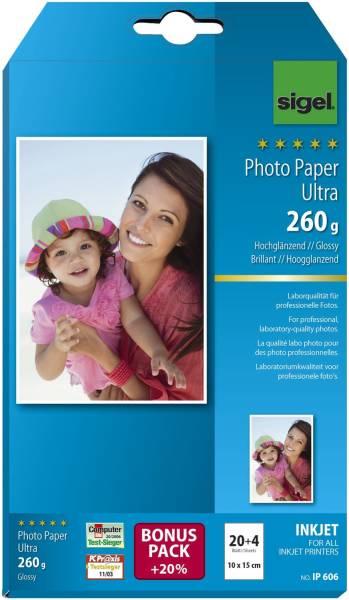 Inkjet Fotopapier Ultra 10x15 cm, hochglänzend, 260 g qm, 24 Blatt