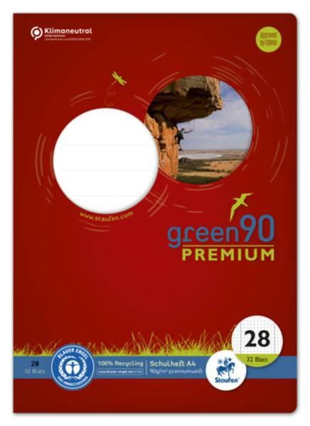 STAUFEN GREEN Heft LIN28 A4 32 Blatt 5mm kariert 040784028 mit Rand 90g