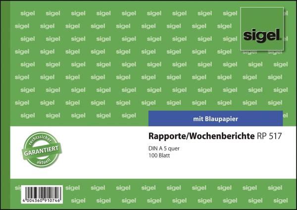 Rapporte Wochenberichte A5 quer, BL, MP, 100 Blatt